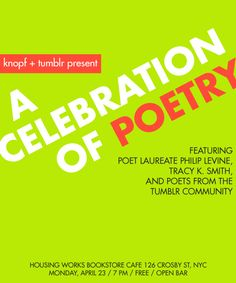 Knopf & Tumblr present a LIVE celebration of poetry! Mark your calendars!