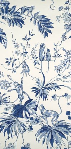 Blue and white wallpaper - Ouisitti chinoiserie toile - Scalamandre Chinoiserie Wallpaper, Chinoiserie Chic, Fabric Wallpaper, Of Wallpaper, Monkey Wallpaper, Blue And White Wallpaper, Textures Patterns, Print Patterns, Mini Toile