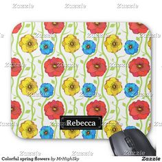Colorful spring flowers mouse pad