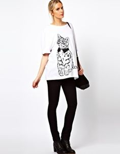 Enlarge ASOS Maternity T-Shirt With Roll Sleeve And Sketchy Cat