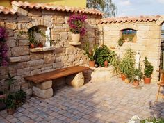 Mediterranean Garden Wall With Window Garden Design Ideas - Mediterranean Garden Wall With Window Garden Wall Prices Cost Overview The Foundation For Your Garden Wall Erects You The Pro For About Eur Per Running Meter What Prices You Still Expect And Patio Pergola, Backyard Patio Designs, Backyard Landscaping, Pergola Ideas, Garden Deco, Herb Garden, Outdoor Rooms, Outdoor Living, Outdoor Decor