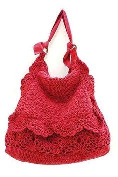 Borsa tricot rosa - In rosso la borsa chic con ricami.