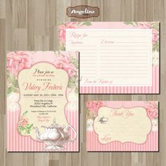 Shabby chic Tea Party Invitation. DIY card. by AngelinaWorks