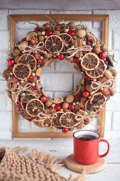 Wreath on the door of dry fruits and vegetables for the Christmas holidays, Winter door decoration of dried flowers in the boho style Handmade Christmas Decorations, New Years Decorations, Christmas Crafts, Natural Christmas, Christmas Mood, Holiday Wreaths, Holiday Decor, Dried Flowers, Diy And Crafts