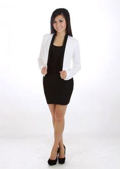 Classy Blazer with Black Trim #white #blazer #kieus