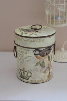 Metal Bird Storage Tin