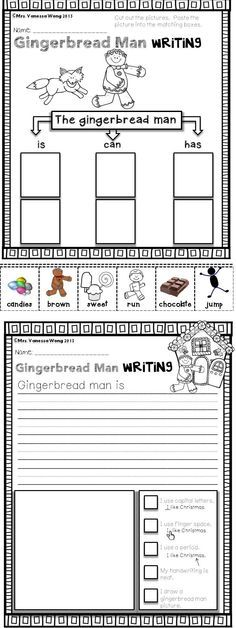 Christmas Math and Literacy pack- kindergarten Gingerbread man writing-download free printables at preview