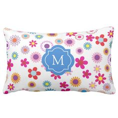 Modern abstract pink purple flowers, monogrammed outdoor pillow.