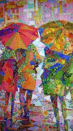 Quilts / Patchwork I like the patchwork effect in this. Different from a normal rainy day picture, b Quilting Projects, Quilting Designs, Quilting Ideas, Art Du Collage, Figurative Kunst, Quilt Modernen, Landscape Quilts, Fabric Art, Fabric Painting