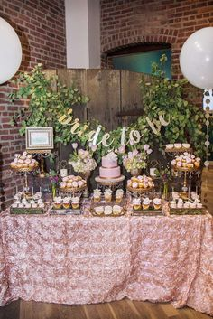 Loving this Rustic Elegance Blush Bridal Shower! The dessert table is stunning!! See more party ideas and share yours at CatchMyParty.com #catchmyparty #desserttable #bridalshower