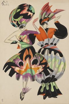Georges Anatolievich Pogedaieff design for dancers on oriental costume, watercolour heightened with white over charcoal on paper, by circa 1925 Fancy Costumes, Exhibition, Stage Set, Costume Design, Masquerade, Impressionist, Modern Art, Original Artwork, Avant Guard