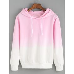 Hooded Pink Ombre Loose Sweatshirt ($13) ❤ liked on Polyvore featuring tops…