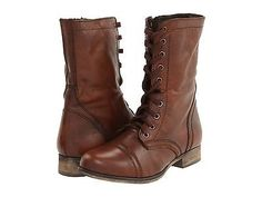 "Women's Shoes Steve Madden Troopa Leather Lace Up Combat Boots Brown (for ""Peter Pan"")"
