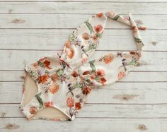 Floral print swimsuit one piece high waist vintage style