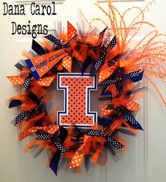 University of Illinois  Team Spirit Wreath by DanaCarolDesigns,