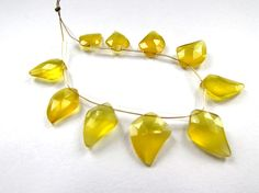 Yellow Chalcedony Faceted Dagger / 9x11.5 to by beadsofgemstone