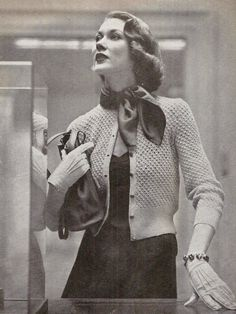 Metropolitian Cardigan Vintage Knitting Pattern 407 by knittedcouture on Etsy