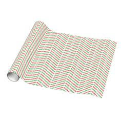 Merry Christmas Chevron Zigzags in Green and Red Gift Wrapping Paper