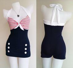 Vtg 50s Bettie Women Swimsuit in Navy Blue Polka Retro Vintage Sailor Women 1950s Swimwear One Piece New