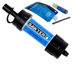 Sawyer SP128 Mini Water Filtration System: This thing is awesome! weighs 2 ounces and filters up to 100,000 gallons. Attaches to included drinking pouch, standard disposable water bottles, hydration packs, or use the straw to drink directly from your water source Removes 7 log (99.99999%) of all bacteria and 6 log (99.9999%) of all protozoa Sawyer's certified 0.1 micron absolute filter removes bacteria and protozoa at a higher rate than accepted EPA guidelines