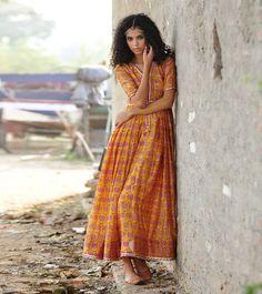mustard chanderi gown by KharaKapas on Etsy