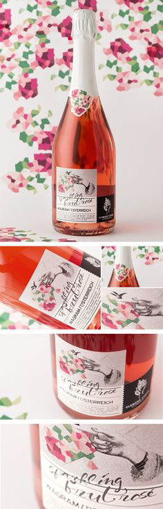 WEINMANUFAKTUR CLEMENS STROBL // Sparkling Brut Rose: By www.strobl-kriegner.com #wine #sparkling #creative #design #flowers Juice Packaging, Bottle Packaging, Wine Label Design, Bottle Design, Creative Design, Design Art, Marketing Services, Handwritting, Wine Tags