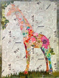POTPOURRI Giraffe Quilt Pattern by  Laura Heine of FIBERWORKS  42 x 58 Inches Finished  Grab your stash and have some fun. FREE SHIPPING