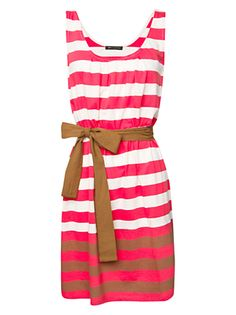 Mango Cotton Stripe Dress, Grapefruit