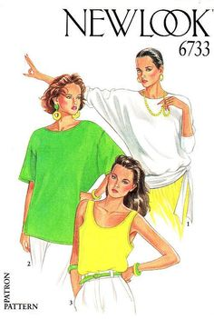 New Look 6733 Misses' Dolman Sleeve Tops or Tank Sewing Pattern Size 8 to 18  #NewLook