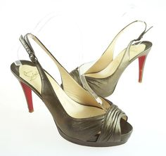 Womens Christian Louboutin Bronze Leather ECOPLUS 100 Sandals Heels Size 38 1/2 #ChristianLouboutin #AnkleStrap
