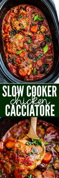 Slow Cooker Chicken Cacciatore - an easy crockpot meal loaded with tomatoes, bell peppers, kale, carrots and Kalamata olives. Only 10 minutes of prep time and bursting with the most amazing rich flavors.
