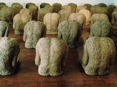 80 BACKS, by Magdalena Abakanowicz 1976-80, burlap and resin life size h. 61-69 cm; depth 50-56 cm; width 55-66 cm collection: Museum of Modern Art, Pusan, South Korea