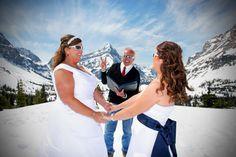 Peak Photography: Banff Wedding Photographer - Pamela & Dawn, Heli Wedding in Canmore
