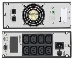 Parte trasera del sai enrackable 1000Va online LA-ON-1K-Rack Lapara. Se pueden apreciar las conexiones IEC, el ventilador ademas de las tomas de conexión USB o RS-232 y el resto de conectores.