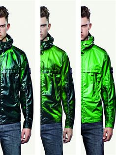 Thermochromic dyes: Smart textiles: Heat Reactive Jacket by Stone Island, a tracksuit top which changes colour from black to green/ blue once it has reached 27 degrees. The fabric that is cotton nylon with thermosentive liquid crystals that react to heat.