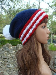 7d0fb1720b6 of July Beanie- With Red and White Striped fold-up brim and Pom-pom