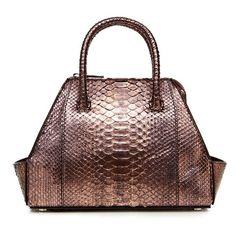 La Perla Bags Metallic Python Mini Ada Bag (5 080 AUD) ❤ liked on Polyvore featuring bags, handbags, tote bags, metallic, totes, mini tote bags, handbags totes, leather tote handbags, leather tote bag and leather totes