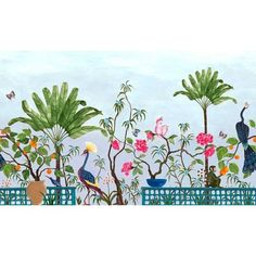 Neo Tea Garden Mural Wallpaper in Blue | Palm Leaf Wallpaper Palm Leaf Wallpaper, Garden Mural, Neo, Bird Perch, Ceramic Pots, Exotic Birds, Green Backgrounds, Belle Epoque, Wall Murals