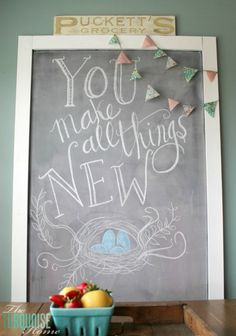 You Make All Things New   Spring Chalkboard Art   TheTurquoiseHome.com