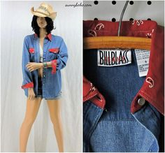 western denim shirt / size S / Bill Blass denim shirt /