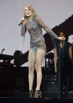 Taylor performing at BBC Radio 1's Big Weekend in Norwich wearing a Nicolas Jebran romper and Stuart Weitzman booties.