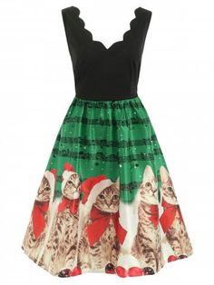 Shop a great selection of UNBRUVO 2019 Dress Women Sleeveless Christmas  Cats Musical Notes Vintage Flare Dress. Find new offer and Similar products  for ... 03e718fee0ed