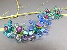 Flower Power - handmade lampwork set of 14 glass beads by Manuela Wutschke
