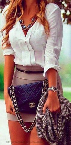 Adorable mini skirt with white shirt and Coco Chanel handbag | Fashion Jot- Latest Trends of Fashion