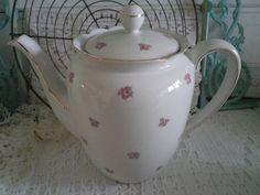 Elly roze roosjes koffiepot van deblauweblaker