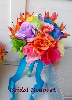 13pc Rainbow colorful wedding bouquets,corsage,boutonnieres-turquoise,yellow,purple,orange,green,pink,blue on Etsy, $250.00