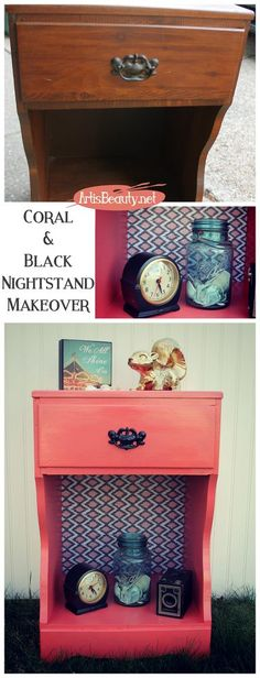 Coral and Black Paper and Painted Nightstand Makeover