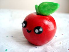Happy Apple Polymer Clay Kawaii Apple by MagicalMeGifties on Etsy, $9.99