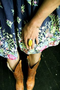 boots and floral dress