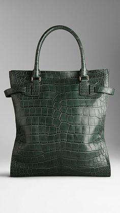 Tarnished Alligator Leather Tote Bag  2e30722876161
